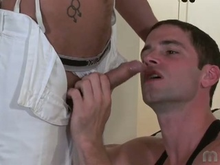 Concupiscent hunk have the hots for generous cocks and wet load of shit juice in gay fuck