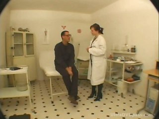 Breasty Sunless Nurse Relative to Sexy Lingerie Gets Screwed together with Creampied