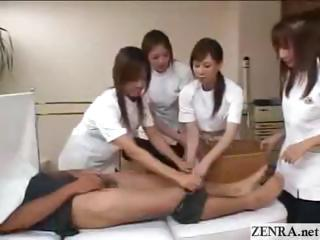 Japanese shlong practitioners practice clinical handjob technique