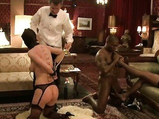 Sexy ecumenical bound, suspended, punished and fucked by wife trainers.