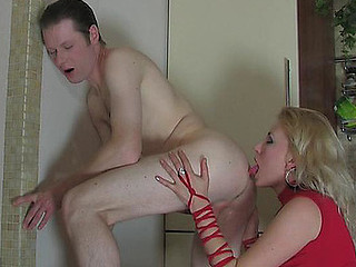 On fooling with a strap-on chap disrobes disrobed giving his a-hole to his bitch goddess