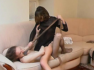 Slutty playgirl punishing filthy guy for steamy games with her luxury hosiery