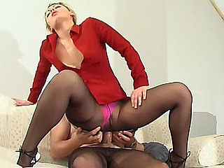 Hawt lady-boss in high heel footwear getting to trampling with her lacy pantyhose on