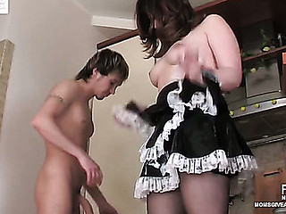 Full-bodied older French maid getting anally done on the fitness equipment