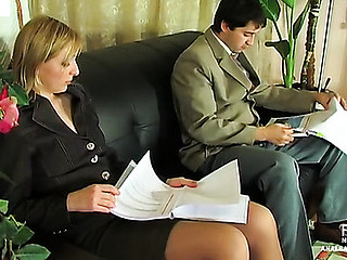 Risqu� business woman getting her buns spread with boner in hawt anal session
