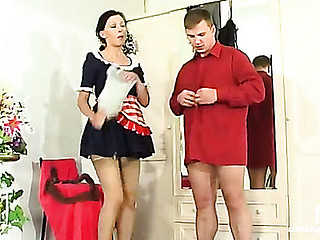 Beautiful French maid in plain top stockings worshipped and humped by a slavemaster