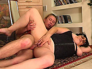 Chubby aged gal goes for a young guy lusting for some recent hard meat