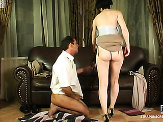 Lewd co-worker eagerly widening his legs for a strap-on of sex-craving beauty