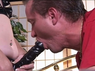 Blonde milf destroys guys pain in the neck hole with a thong on