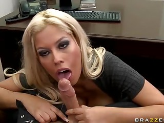 Big titted blonde floozy Bridgette B pleases her bos