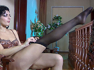 Inessa teasing with regard to her nylons