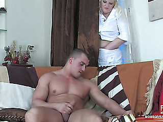 Golden-Haired mommy spying on a stroking stud in the air condone of mad butt fisting and dicking