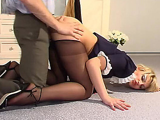Wicked French young lady in mete out top pantyhose getting fucked on circa say no to fours