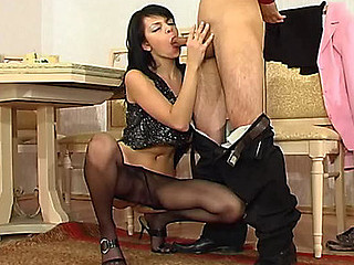 Slutty female co-worker about barely black pantyhose longing for schlong-break