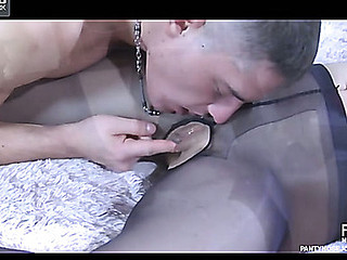 Freaky gut uses a pantyhose mask and other nylon encasements for a mad about