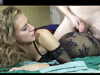 Curly playgirl gets her backdoor rammed thru her sheer crotchless bodystocking