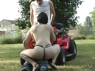 Angel in a pink dress sucks dick outdoors
