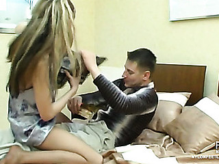 Wicked chick in silky hose giving footjob previous to steamy doggystyle fucking