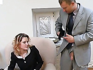 Steamy secretary giving dick a wonderful tug engulfing on it through black tights