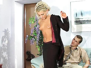 Seductive blond secretary in red underclothes readily opens her butt for a boss