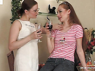 Fiery mother i'd like to fuck in glasses seduces a youthful gal showing her the ropes of lez sex