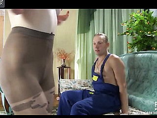 Sexual chat up on touching patterned hose makes a handyman willing for dick-riding