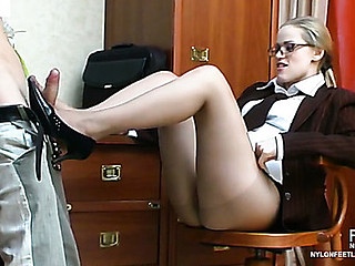 Raunchy secretary in sheer hose savoring feet-licking and wild fucking