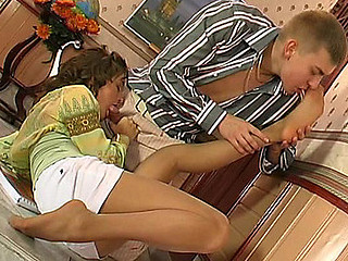 Bridget&Patrick mindblowing nylon feet portray