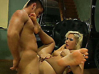 Breasty blondie shows her nyloned feet seducing a guy into hardcore session
