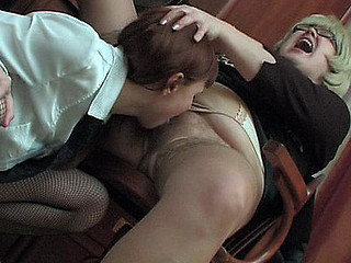 Corpulent aged business woman and female co-worker getting down into lesbo