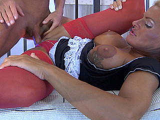 Enticing aged maid readily servicing her lusting for a fuck juvenile slaver