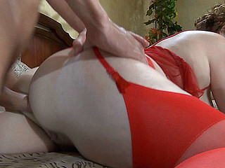 Raunchy mama clad in red undies blows young meat in advance of coarse anal pounding