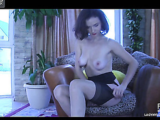 Smoking sexy babe in contrast top nylons shows curves during the time that getting dressed