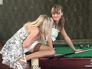 Playful hotties use their hawt juicy tongues coupled with a billiard cue for sapphic sex