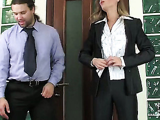 Female co-worker with a good behind getting her constricted butthole pressed hard