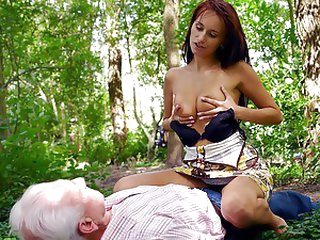 Lucky Old Fart Bonks a Handsome Redhead Babe Outdoors