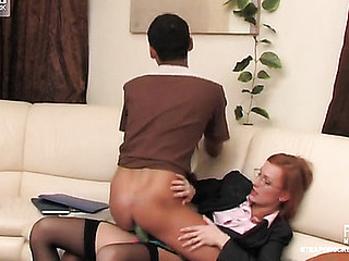 Equipped with a strap-on business-lady forces a newcomer into anal workout
