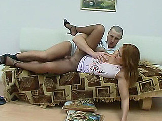 Nasty chick getting her soft silky pantyhose torn with guy