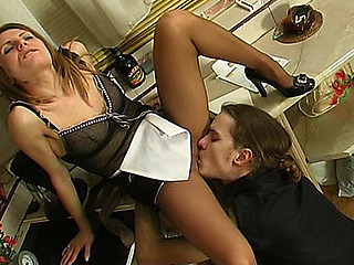 Sexy French maid uses supplementary pantyhose during the time that having kinky sex with a dominant