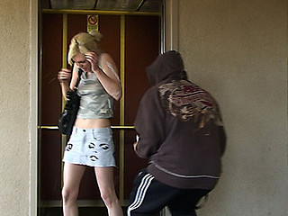 We followed this smokin' stunning waitress home during the time that my mate was masturbating his meat to sploog in her face. That Honey didn't want to give us her phone number so we'll show her some manners. As this babe got off the elevator my mate flagellated out his wang and...