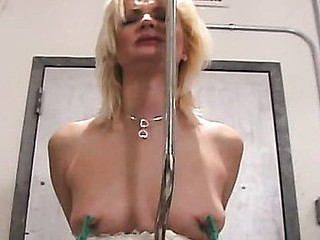 Hawt bitch gets greedy-guts fastened and tit-tortured