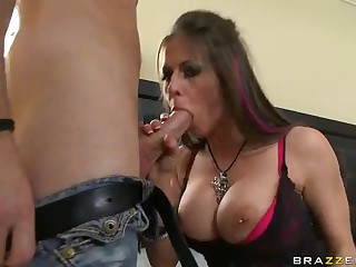Big boobed Rachel Roxxx loves big meat pole