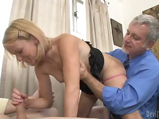 Old and young dude share slim blonde Jennifer Dark