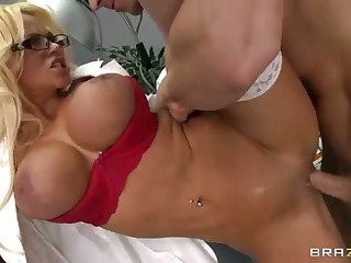 Busty blond dcotor Nikita Von James is a floozy