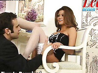 Sexy Asian porn star Charmaine Star looks fantastic in stockings and heels in this sexy foot fetish scene. This Babe starts off sitting on an ornate couch and putting on her stockings and sweet golden high heels. If u're a leg and foot stud then this scene will definitely get you going!