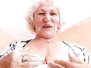 Big titted grandma plays with her billibongs and her old cunt
