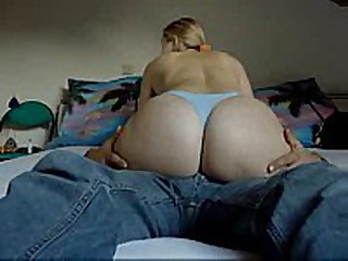 Sarah Large Butt Grinding Blue Panties