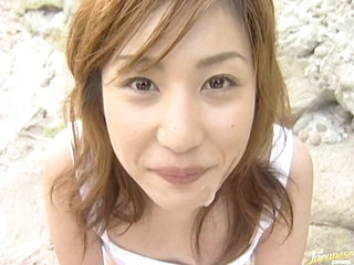 Asian Coddle Mami Gives Outdoor Voiced coition on the Beach