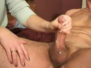 Intimate porn with a fantastic wifey doing great handjob