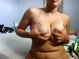 Cute chubby girlfriend makes a porn tape for her boyfriend by dancing her curvy body around for the web camera and playing with herself. She bends over to give a private look at her cunt and asshole.